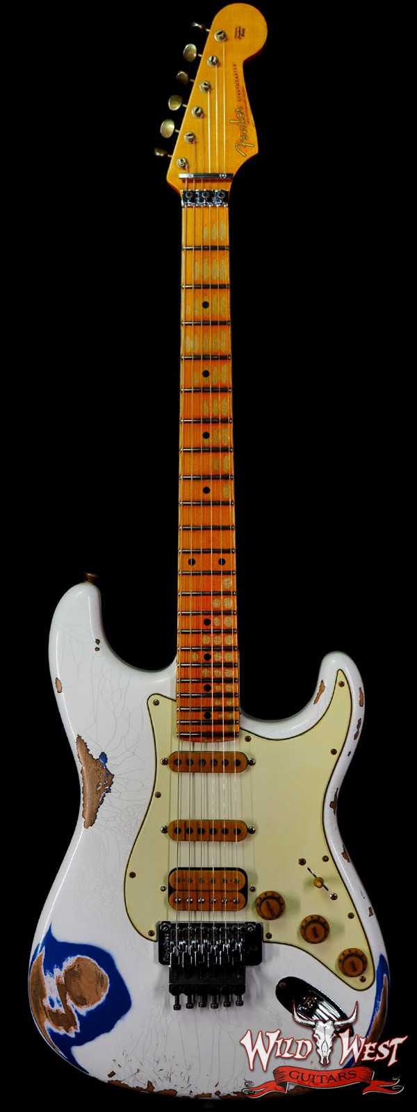 Fender Custom Shop Wild West White Lightning Stratocaster HSS Floyd Rose Maple Board 22 Frets Heavy Relic Lake Placid Blue