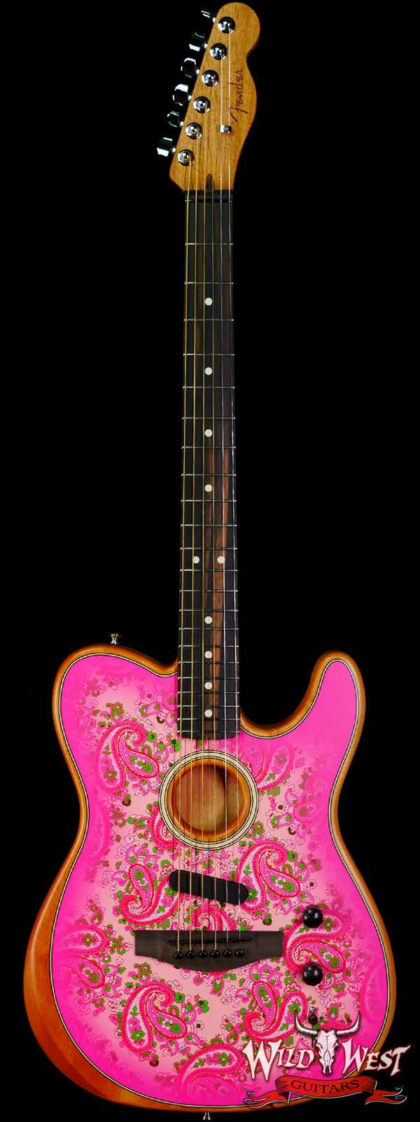 Fender American Acoustasonic Telecaster Ebony Fingerboard Pink Paisley 4.80 LBS US221860A