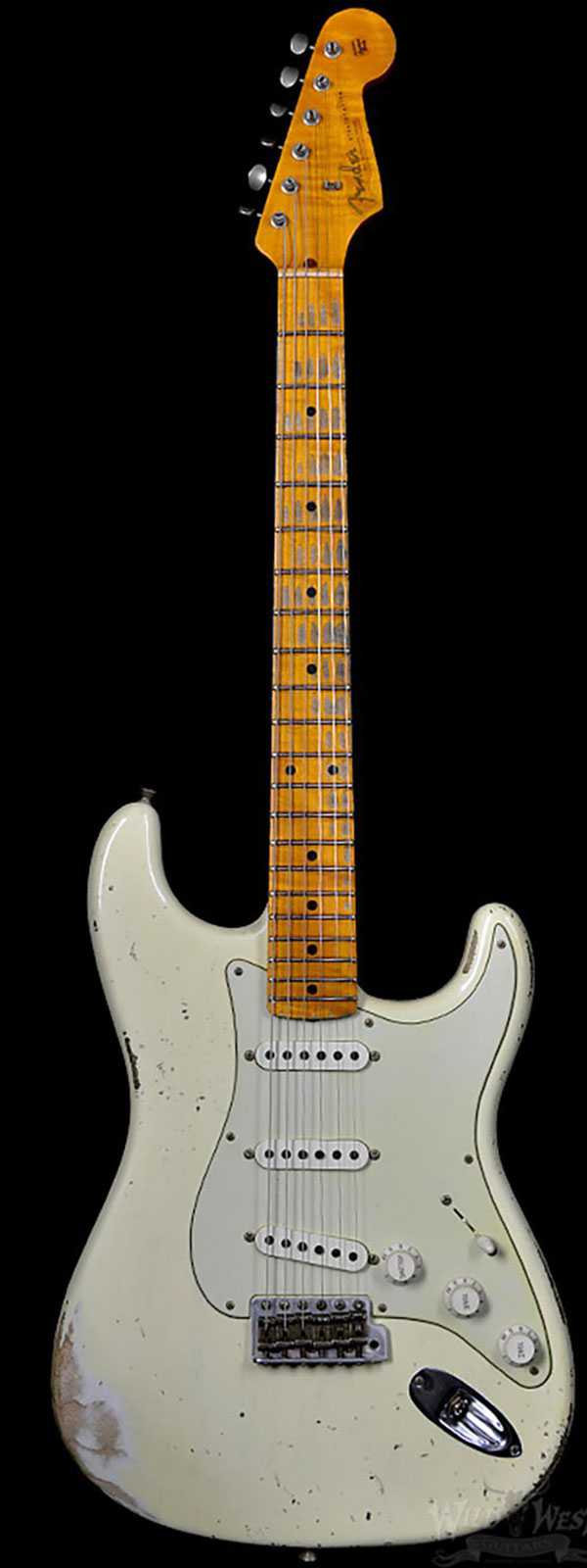 Fender 1956 Stratocaster Heavy Relic AA Flame Maple Neck Vintage White