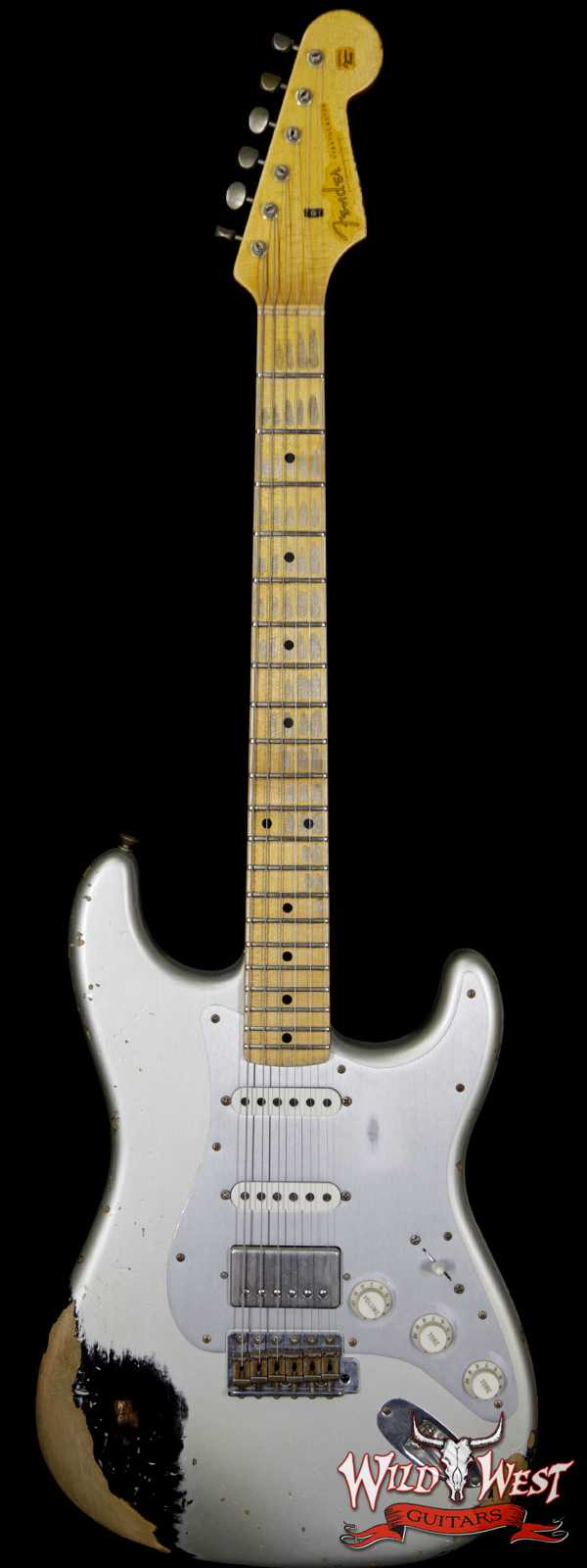 Fender Custom Shop 1960 Stratocaster HSS Heavy Relic Maple Neck Inca Silver over Black