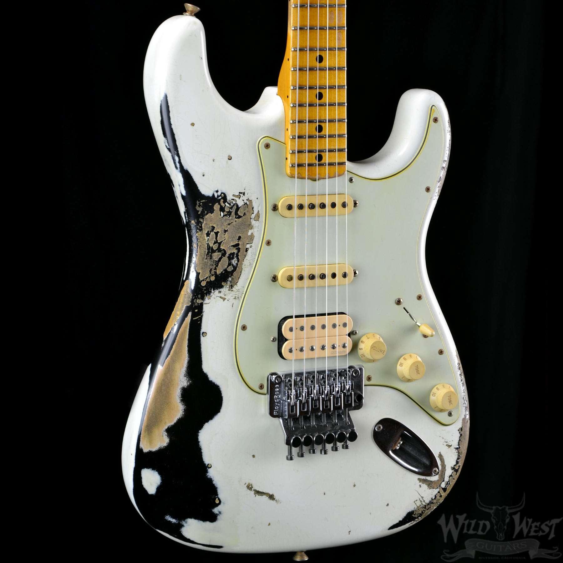 fender 1960 strat heavy relic white lightning olympic white black wild west guitars. Black Bedroom Furniture Sets. Home Design Ideas
