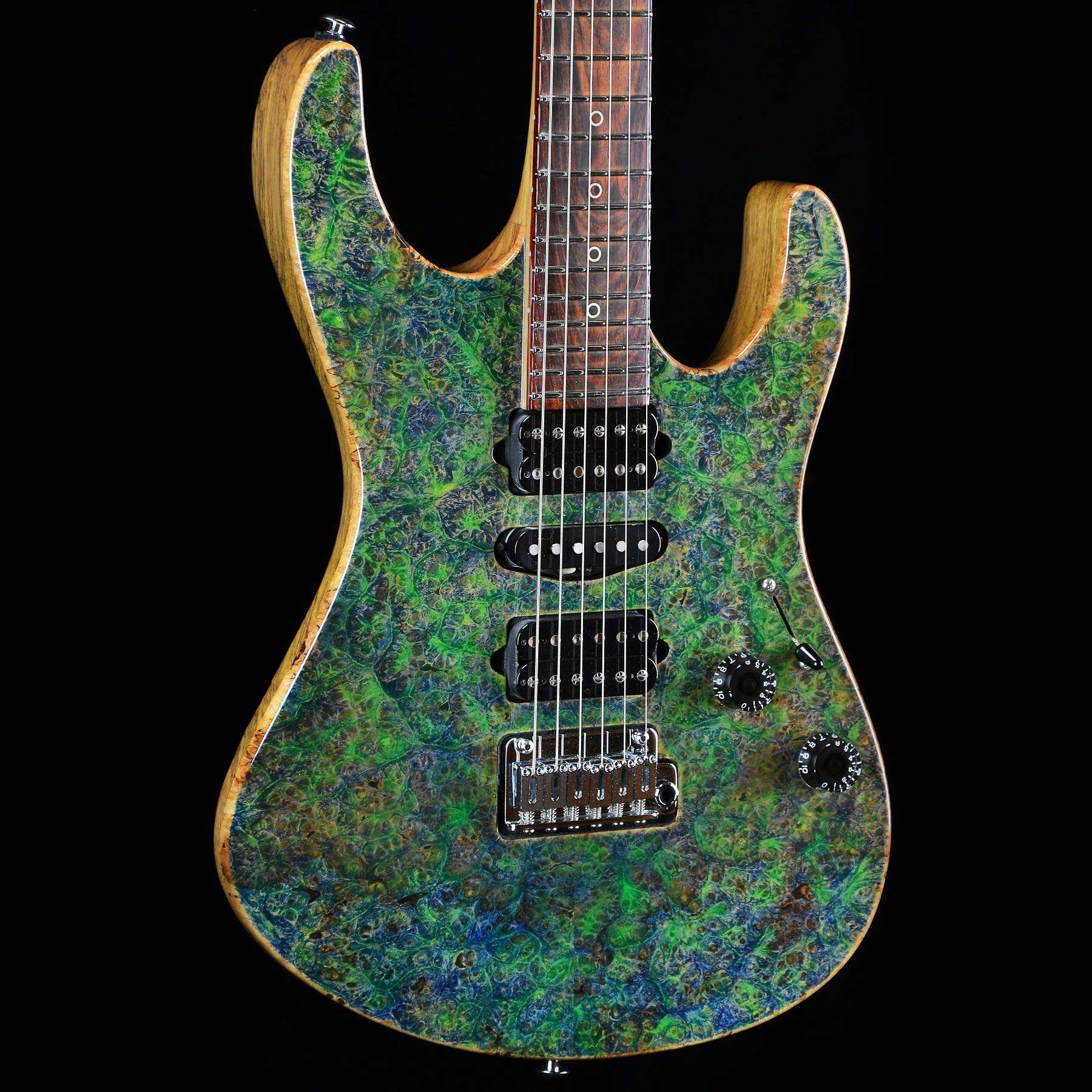 suhr custom modern set neck burl top trans algae wild. Black Bedroom Furniture Sets. Home Design Ideas