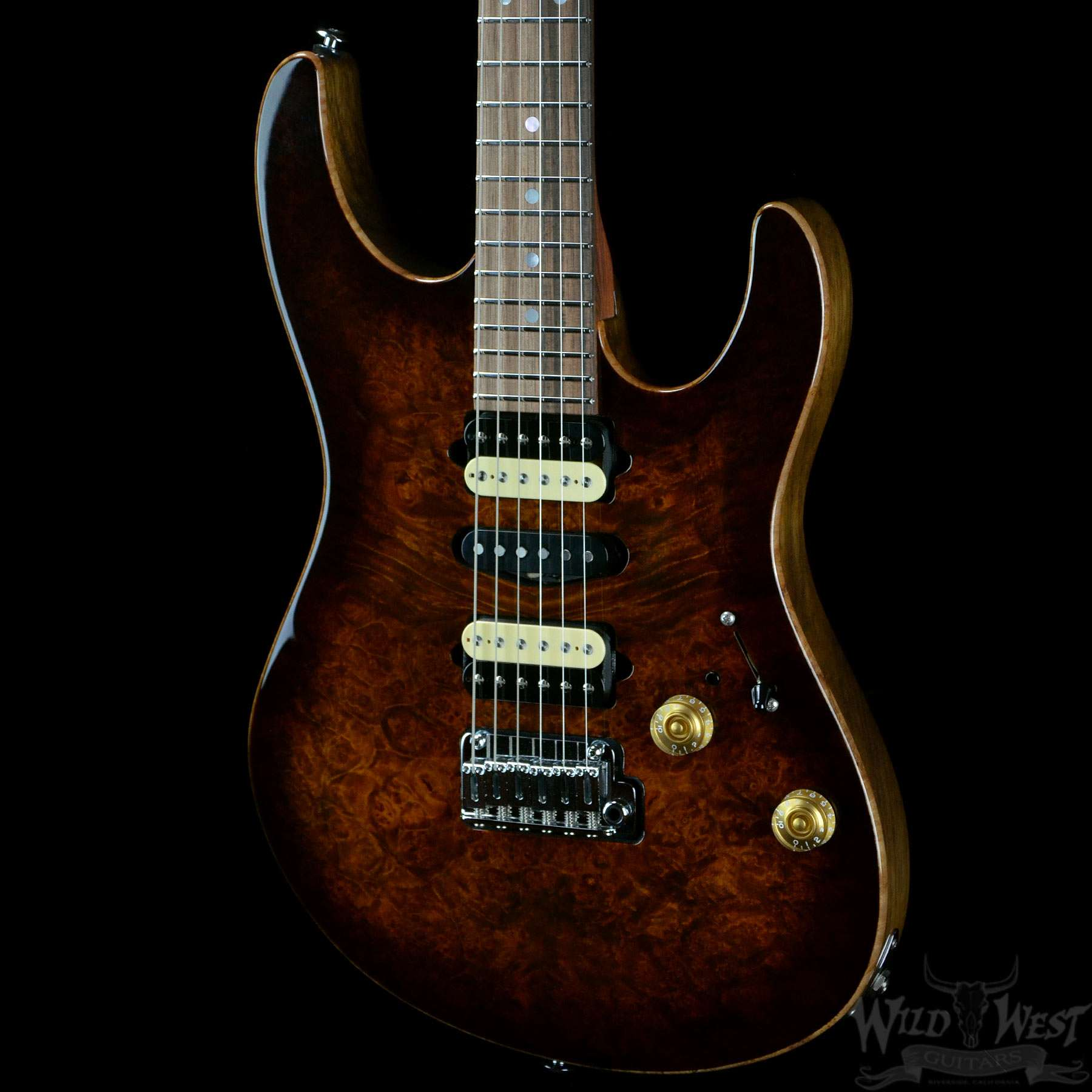 suhr custom modern burl maple bengal burst wild west guitars. Black Bedroom Furniture Sets. Home Design Ideas
