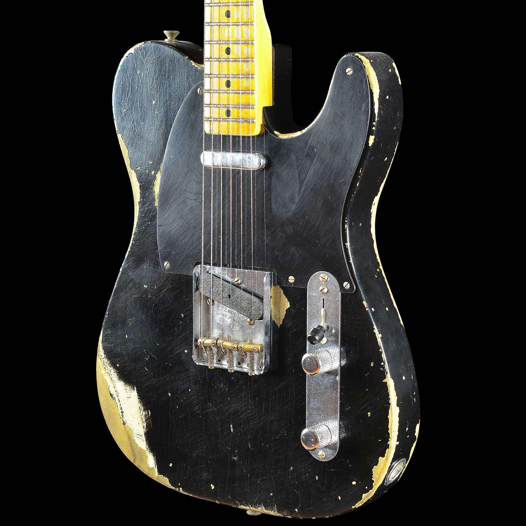 fender custom shop collection 1951 heavy relic telecaster faded black wild west guitars. Black Bedroom Furniture Sets. Home Design Ideas
