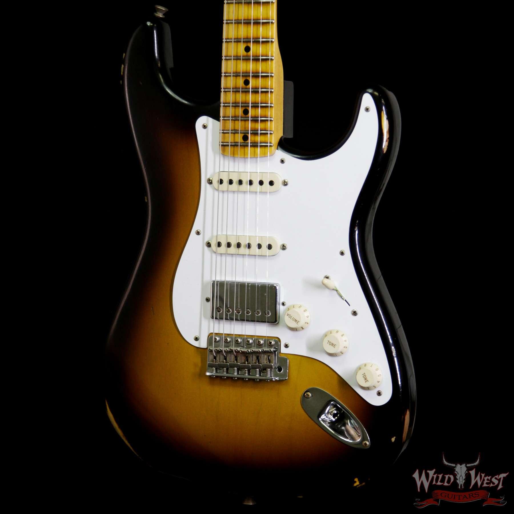 Fender Custom Shop 1958 Stratocaster HSS EVH Pickup Relic Maple Neck 2 Tone  Sunburst