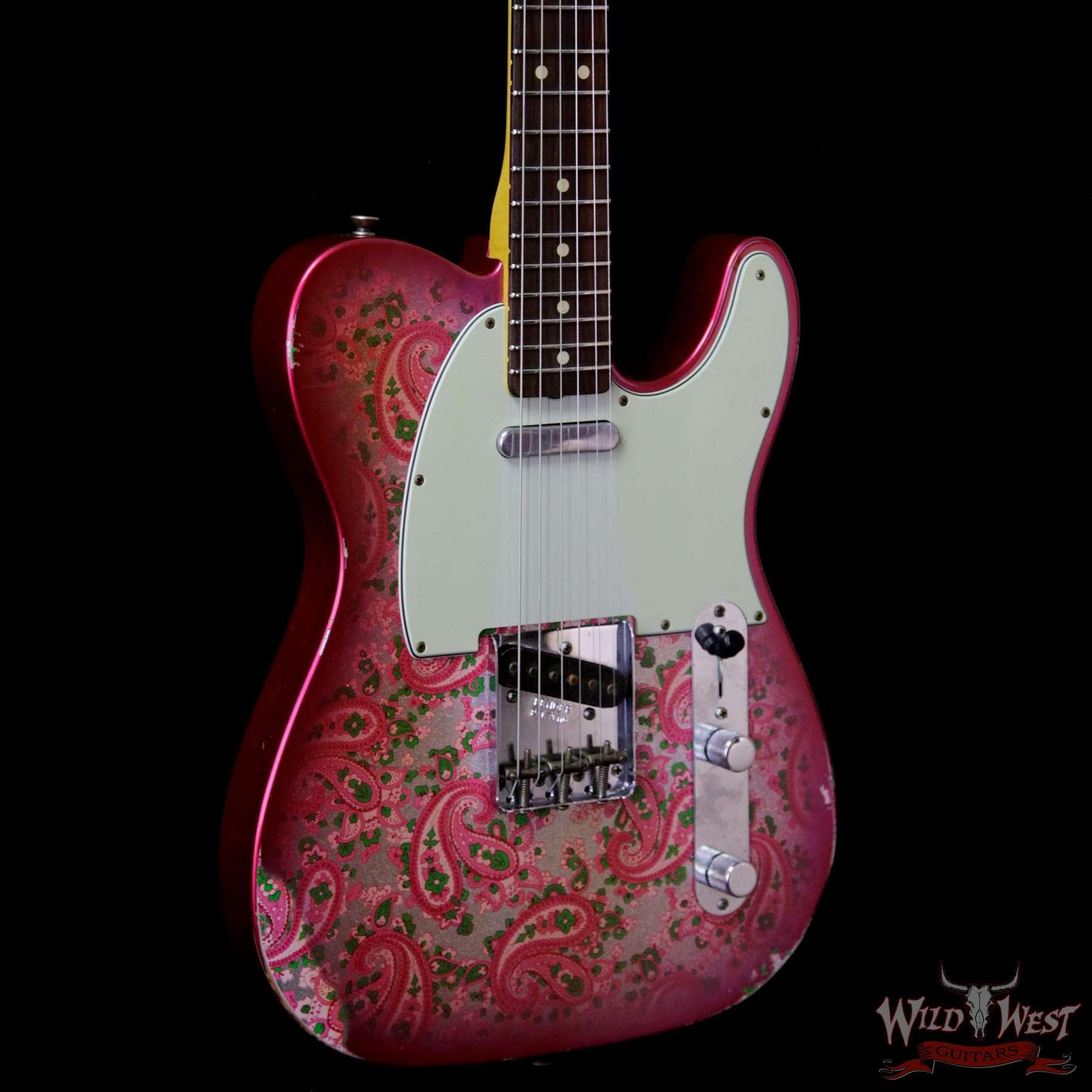 fender custom shop 1963 telecaster relic rosewood fingerboard pink paisley wild west guitars. Black Bedroom Furniture Sets. Home Design Ideas